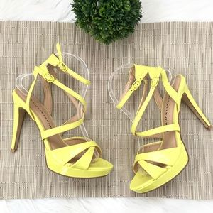 Chinese Laundry Neon Yellow Strappy Platform Heel